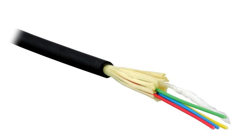 Teldor F60040415B (MTA-6-04HT-E-KH-D) (95M596M04B) Кабель волоконно-оптический 62.5/ 125 (OM1) многомодовый, 4 волокна, плотное буферное покрытие (tight buffer), внутренний/ внешний, HFFR, -40°C до +70°C, черный
