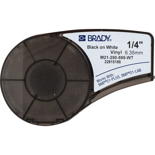 BRADY brd139744 Лента принтерная для кабеля, провода, патч-панелей, 6.35 мм х 6.4 м, винил, черный на белом (BMP21 Plus), M21-250-595-WT