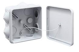 PlastElectro PE 120 080 Коробка разветвительная квадратная, наружный монтаж, 7 вводов, IP55, 80x80x40
