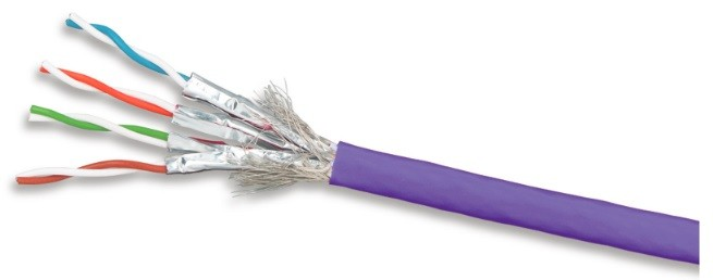 Siemon 9T7L4-E10 (305 м) Кабель витая пара TERA®, экранированная S/ FTP, категория 7А, 4 пары (23 AWG), одножильный (solid), LSOH-3 (IEC 60332-3-22), 1000 MHz, -20°C - +75°C, фиолетовый (катушка)