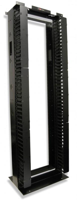 Siemon RS3-07-S Открытая стальная стойка 45U (2100 мм), шириной (685 мм), глубиной (457, 2 мм), с боковыми вертикальными кабельными каналами, контактами заземления, черная<img style='position: relative;' src='/image/only_to_order_edit.gif' alt='На заказ' title='На заказ' />