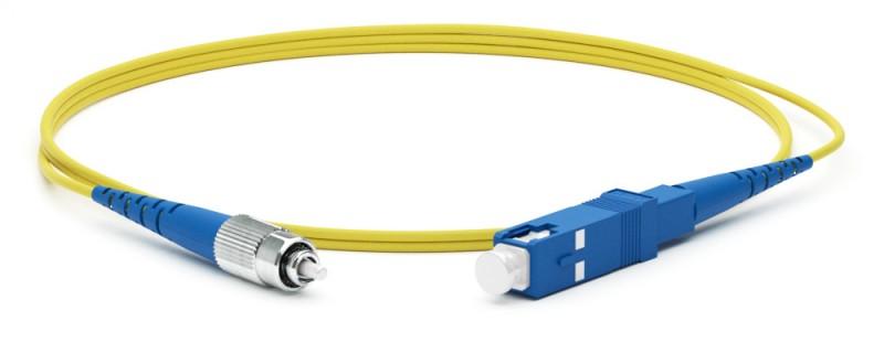 Hyperline FC-S2-9-FC/ UR-SC/ UR-H-3M-LSZH-YL Патч-корд волоконно-оптический (шнур) SM 9/ 125 (OS2), FC/ UPC-SC/ UPC, 2.0 мм, simplex, LSZH, 3 м