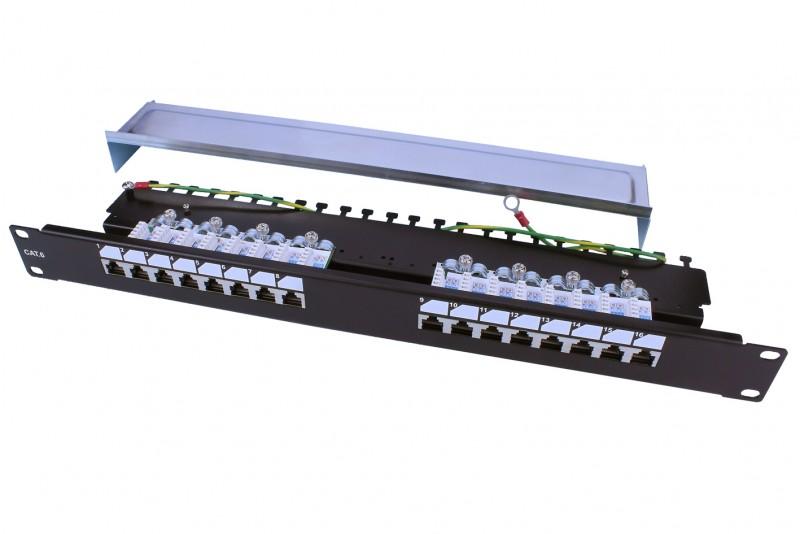 """Hyperline PP3-19-16-8P8C-C6-SH-110D Патч-панель 19"""", 1U, 16 портов RJ-45 полн. экран., категория 6, Dual IDC, ROHS, цвет черный"""