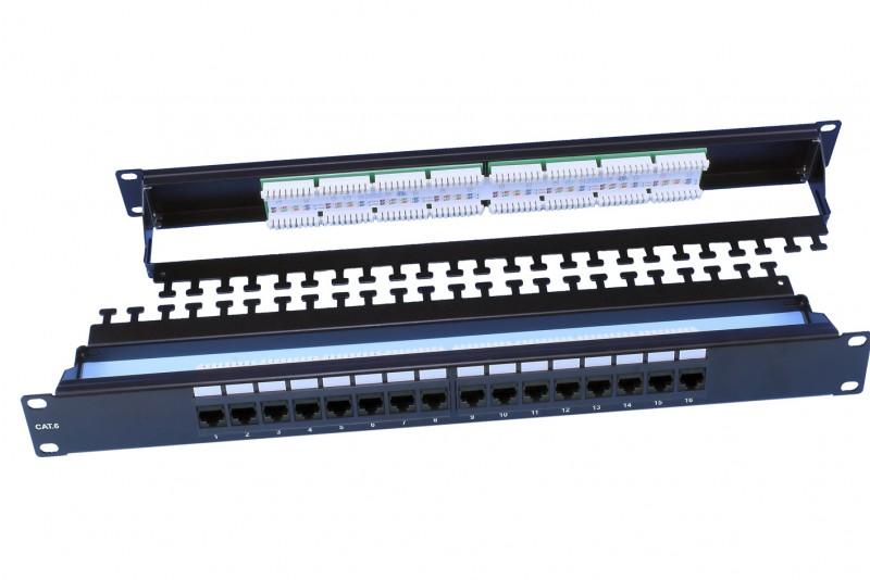 """Hyperline PP3-19-16-8P8C-C6-110D Патч-панель 19"""", 1U, 16 портов RJ-45, категория 6, Dual IDC, ROHS, цвет черный (задний кабельный организатор в комплекте)"""