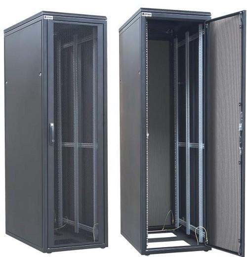 """ZPAS WZ-DCI-026-5(77)11-01-0000-2-161 Шкаф серверный/ ЦОД/ DataBox 42U, 1963x600х1200мм(ВхШхГ), передн. дверь сталь с перф. 80% с ручкой, задняя дверь двустворч. перф. 80%, бок. сплош. панели, ножки, без крыши, 2 пары 19"""" проф., черный(RAL9005) (разобр"""