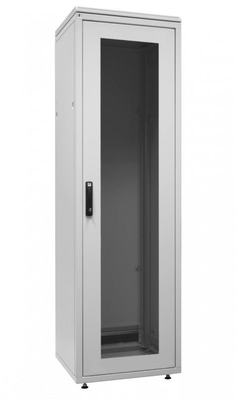 """ZPAS WZ-SZBD-045-G7AA-11-0000-011 Шкаф напольный 19"""", SZBD, 38U, 1785x600х800мм (ВхШхГ), стеклянная дверь в стальной раме, ручка с замком с трехточечной фиксацией, цвет серый (RAL 7035) (разобранный)"""