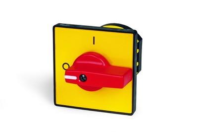 DKC / ДКС AZ0201 Желтая площадка 48х48, красная ручка R02 на дверь<img style='position: relative;' src='/image/only_to_order_edit.gif' alt='На заказ' title='На заказ' />