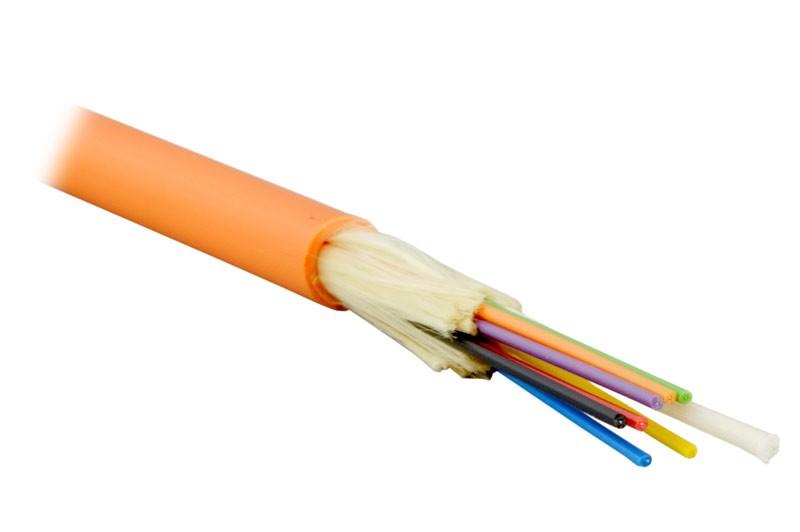 Teldor F60080810O (MTA-6-08VT-D-KV) (95M356A08O) Кабель волоконно-оптический 62.5/ 125 (OM1) многомодовый, 8 волокон, плотное буферное покрытие (tight buffer), для внутренней прокладки, FR-PVC, -25°C - +75°C, оранжевый