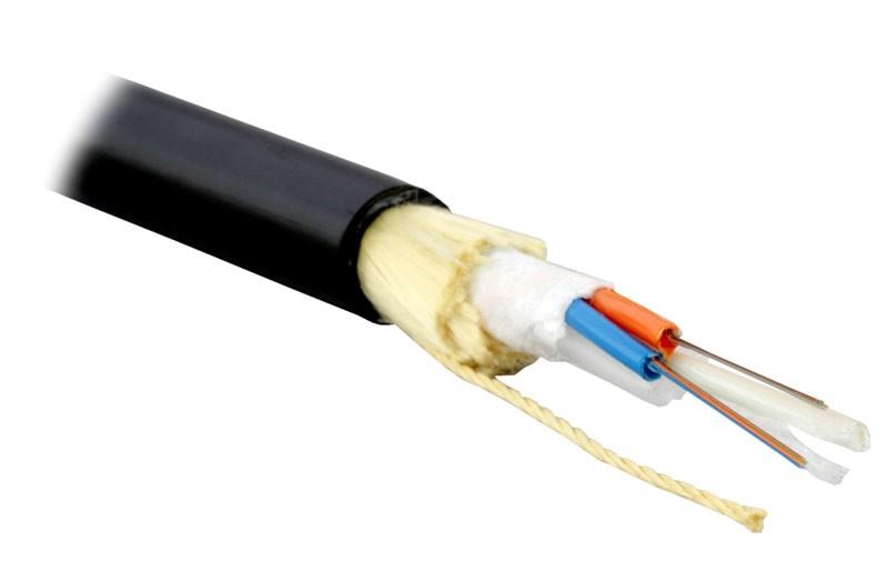 Teldor F60080201B (ADSB-6-02x04-D-KP-D) Кабель волоконно-оптический 62.5/ 125 (OM1) многомодовый, 8 волокон, модульная конструкция (loose tube), для внешней прокладки, самонесущий, PE, -40°C - +70°C, черный