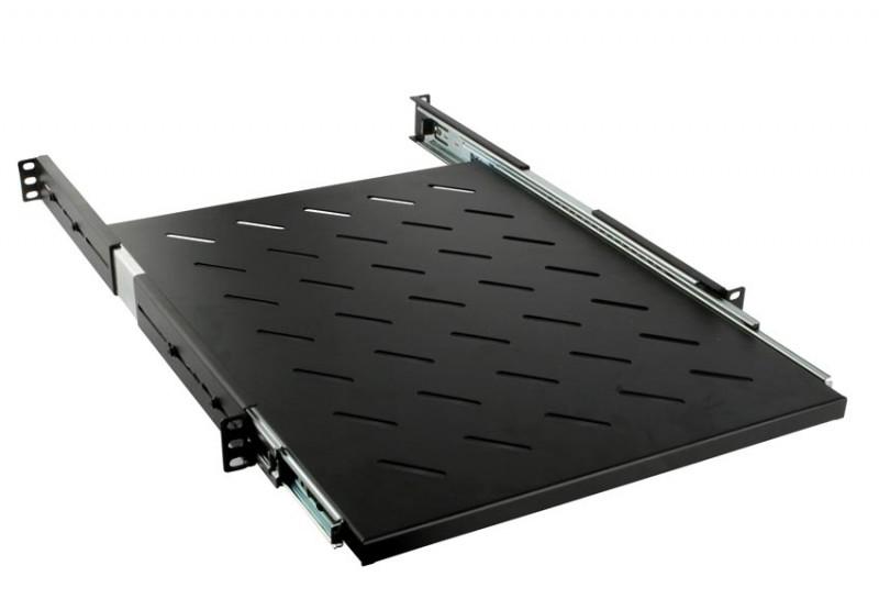 Hyperline SRVSH-1000-RAL9005 Полка выдвижная глубиной 1000 мм для стоек глубиной 1000 мм (до 90 кг), цвет черный (RAL 9005)
