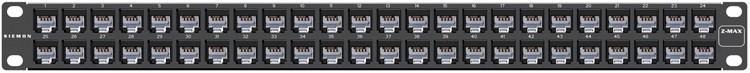 """Siemon Z6-PNL-U48K-SALE Z-MAX Патч-панель 19"""", 48 портов, категория 6, неэкранированная, 1U, черная, с модулями (в комплекте Z-Tool, маркировочные этикетки, кабельные стяжки, крепеж) (РАСПРОДАЖА)"""