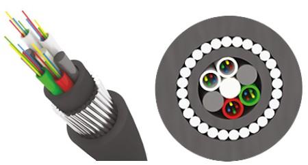 Трансвок ОКБ-1/ 3Сп-4(2) (7кН) Кабель волоконно-оптический 9/ 125 (G.652.D) одномодовый, 4 волокна, с броней из стальной круглой проволоки модульной конструкции, для прокладки в грунтах всех категорий, черный