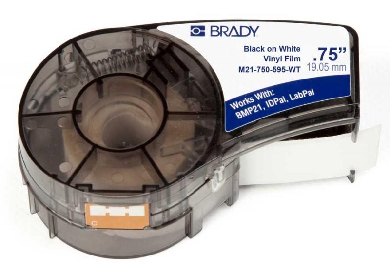 BRADY brd142797 Лента принтерная для кабеля, провода, патч-панелей, 19.05мм х 6.4м винил, черный на белом, M21-750-595-WT