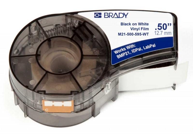 BRADY brd142807 Лента принтерная для кабеля, провода, патч-панелей, 12.7мм х 6.4м винил, черный на белом, M21-500-595-WT
