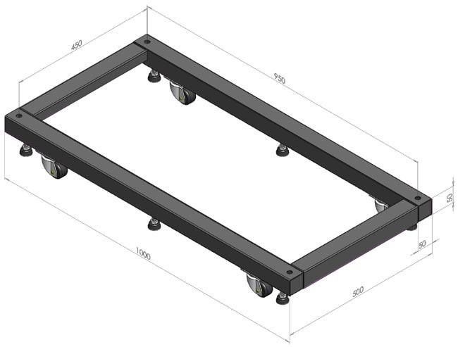 Hyperline ORV-BSM-800 Основание для стоек ORV2 и ORV2A глубиной 800 мм, для установки стойки на ножки и ролики (в комплекте 6 ножек и 2 ролика + 2 ролика с тормозом)