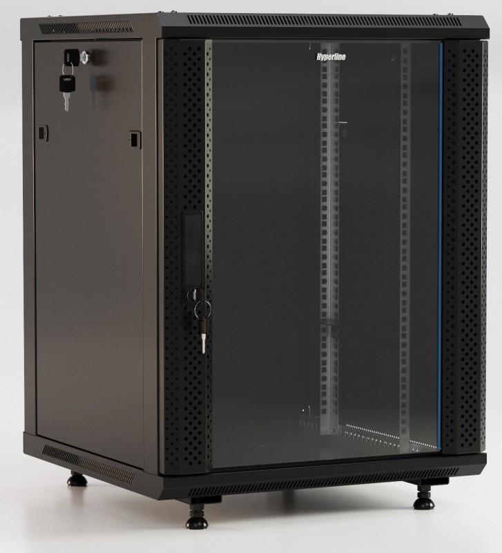 """Hyperline TWB-FC-2266-GP-RAL9004 Шкаф настенный 19-дюймовый (19""""), 22U, 1098x600х600мм, стеклянная дверь с перфорацией по бокам, ручка с замком, с возможностью установки на ножки, цвет черный (RAL 9004) (разобранный)"""