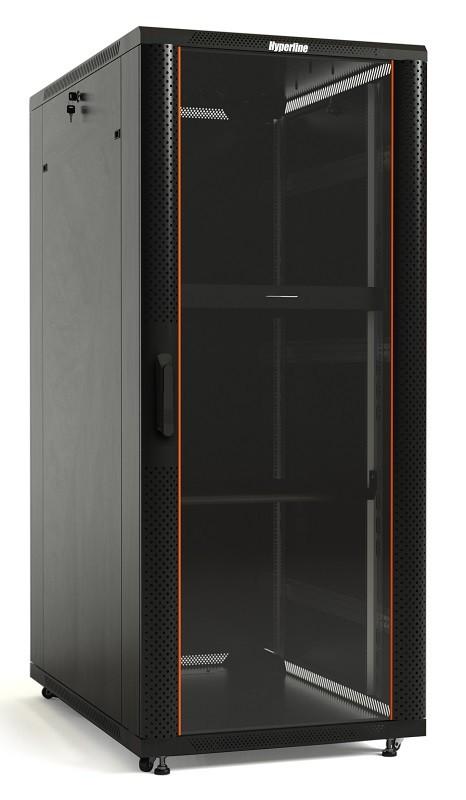 Hyperline TTB-4261-AS-RAL9004 Шкаф напольный 19-дюймовый, 42U, 2055х600х1000 мм (ВхШхГ), передняя стеклянная дверь со стальными перфорированными боковинами, задняя дверь сплошная, ручка с замком, крыша нового типа, цвет черный (RAL 9004) (разобранный)
