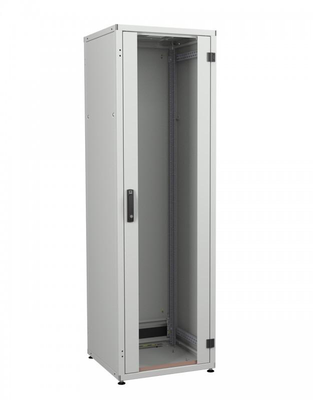 """ZPAS WZ-IT-246060-29AA-2-011-FP Шкаф напольный 19"""", 24U, 1163х600х600мм (ВхШхГ), дверь стальная сплошная с одноточ. замком с ручкой, укороч. дверь + фальшп. 3U с щеточ. вводом, 2 пары 19"""" монтажных профилей, ножки, серый (RAL7035)(разобранный)"""
