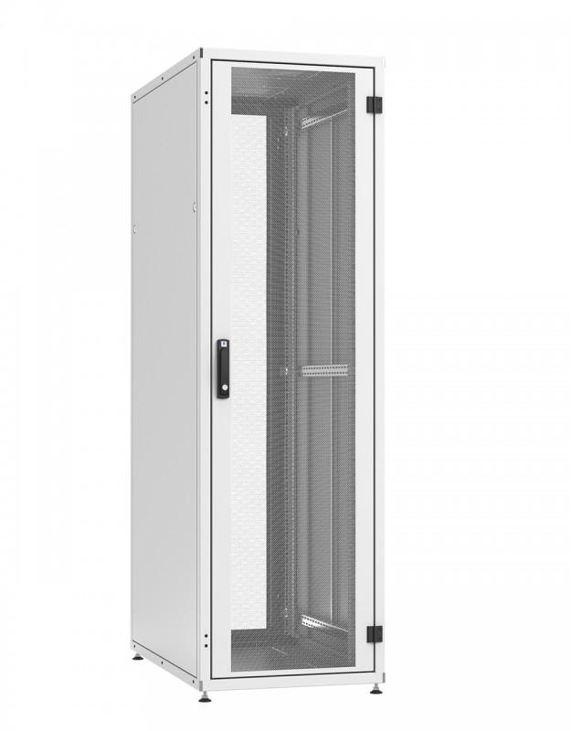 """ZPAS WZ-IT-426010-44AA-4-011-FP Шкаф напольный 19"""", 42U, 1963х600х1000мм (ВхШхГ), передняя и задняя двери стальные одностворч. с перфорацией типа C (80%) и трехточечным замком, 2 пары 19"""" монтаж. усилен. проф., ножки, серый (RAL7035) (разобр.)"""
