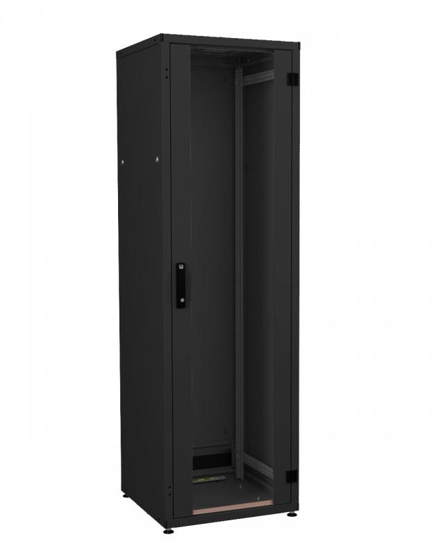 """ZPAS WZ-IT-426010-69AA-5-161-FP Шкаф напольный 19"""", 42U, 1963х600х1000мм (ВхШхГ), дверь стеклянная с боковыми вставками, сзади укороченная дверь + фальшпанель 3U с щеточн/ вводом, 3 пары 19"""" монтаж. усилен. проф., ножки, черный(RAL9005)(разобр.)"""