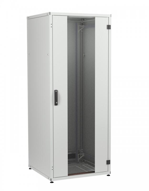"""ZPAS WZ-IT-248010-69AA-4-011-FP Шкаф напольный 19"""", 24U, 1163х800х1000мм (ВхШхГ), дверь стеклянная с боковыми вставками, сзади укороченная дверь + фальшп. 3U с щеточным вводом, 2 пары 19"""" монтаж. усилен. проф., ножки, серый (RAL7035)(разобр.)"""