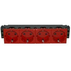 LEGRAND 77614 Модуль розетки 4х2К+3, 8М, немецкий стандарт (Schuko), проходной (в короб), красный, Mosaic