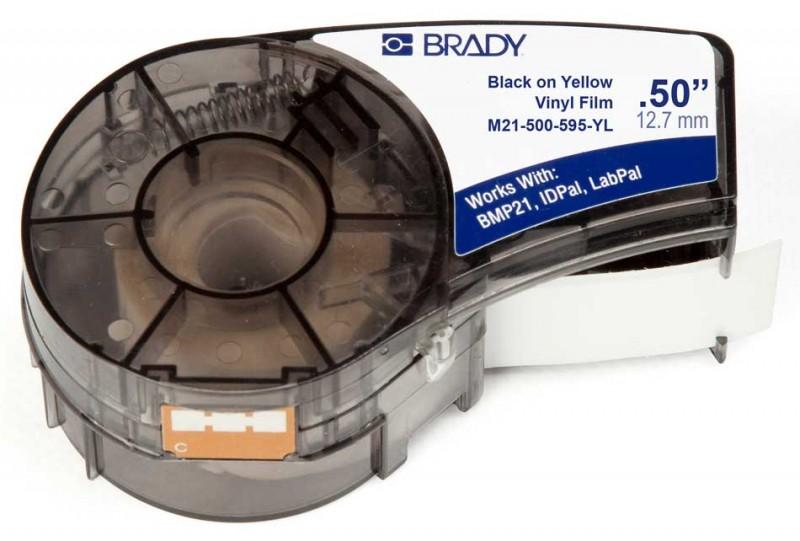BRADY brd142799 Лента принтерная для кабеля, провода, патч-панелей, 12.7мм х 6.4м винил, черный на желтом, M21-500-595-YL