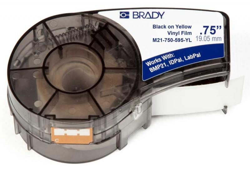 BRADY brd142811 Лента принтерная для кабеля, провода, патч-панелей, 19.05мм х 6.4м винил, черный на желтом 6.4m , M21-750-595-YL