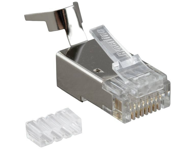 """Hyperline PLUG-8P8C-UV-C6-TW-SH-10 Разъем RJ-45(8P8C) под витую пару, категория 6/ 6A (50 µ""""/ 50 микродюймов), экранированный, универсальный (для одножильного и многожильного кабеля), для толстых жил 1.35-1.5 мм(с оболочкой) (10 шт)<img style='position: relative;' src='/image/only_to_order_edit.gif' alt='На заказ' title='На заказ' />"""