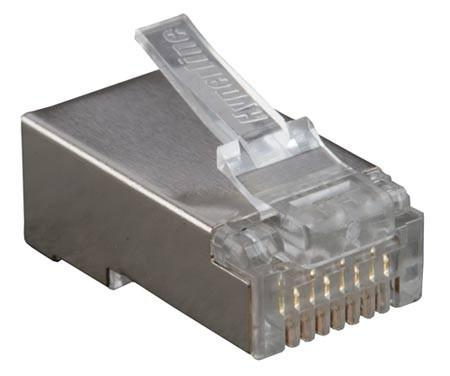"""Hyperline PLUG-8P8C-U-C6-SH-100 Разъем RJ-45(8P8C) под витую пару, категория 6 (50 µ""""/ 50 микродюймов), экранированный, универсальный (для одножильного и многожильного кабеля) (100 шт)<img style='position: relative;' src='/image/only_to_order_edit.gif' alt='На заказ' title='На заказ' />"""