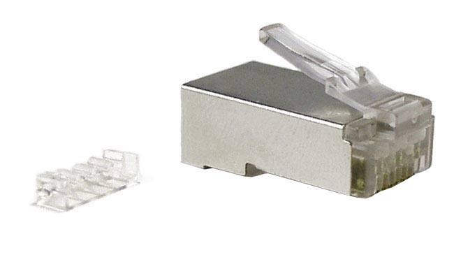 """Hyperline PLUG-8P8C-UV-C6-SH-100 Разъем RJ-45(8P8C) под витую пару, категория 6 (50 µ""""/ 50 микродюймов), экранированный, универсальный (для одножильного и многожильного кабеля), со вставкой (100 шт)<img style='position: relative;' src='/image/only_to_order_edit.gif' alt='На заказ' title='На заказ' />"""