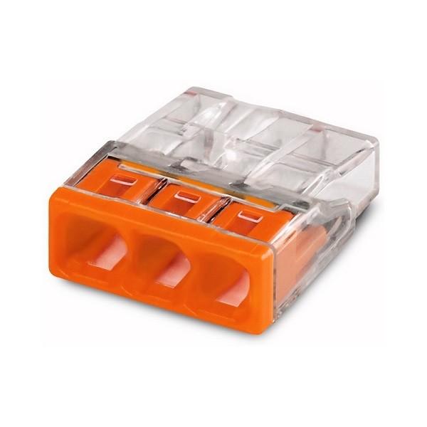 WAGO 2273-203 Клемма соединительная 3-проводная для распределительных коробок, сечением 1.0-2.5 мм2, без пасты, оранжевая