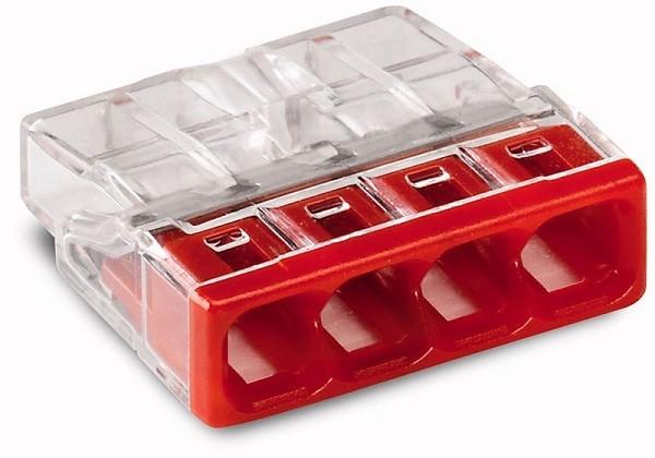 WAGO 2273-204 Клемма соединительная 4-проводная для распределительных коробок, сечением 0.5-2.5 мм2, без пасты, красная