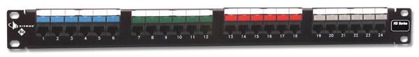 """Siemon HD5-24 Патч-панель 19"""", 24 порта, категория 5e, неэкранированная, универсальная (T568A/ B), 1U, с задним кабельным организатором HD-RWM"""
