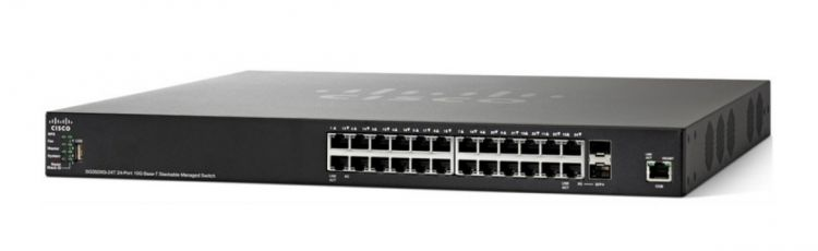 Коммутатор 24-портовый Cisco SG350XG-24T 24-port 10GBase-T Stackable Switch