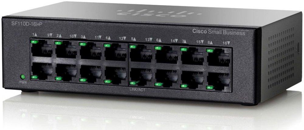 Cisco Коммутатор 16-портовый SF110D-16HP 16-Port 10/ 100 PoE Desktop Switch