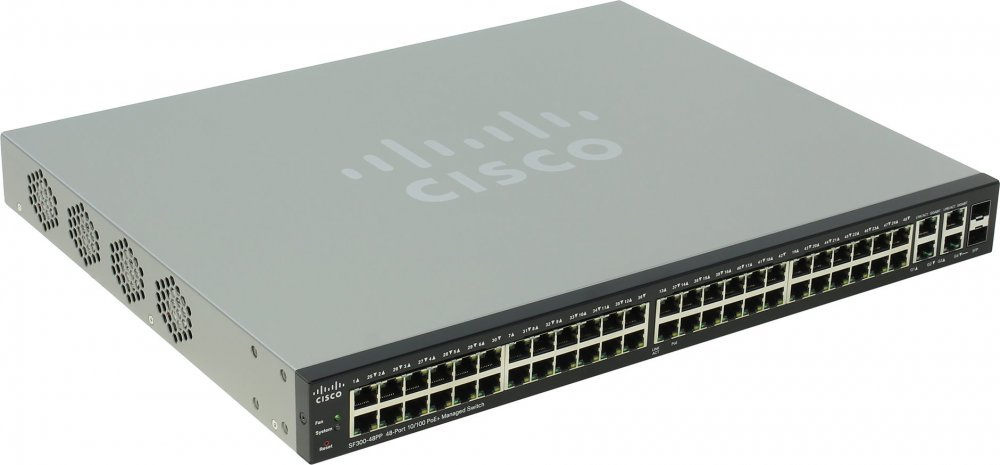 Cisco  Коммутатор 48-портовый SF300-48PP 48-port 10/ 100 PoE+ Managed Switch w/ Gig Uplinks