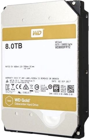 Western Digital HDD SATA-III 8000Gb GOLD WD8003FRYZ, 7200rpm, 256MB buffer <img style='position: relative;' src='/image/only_to_order_edit.gif' alt='На заказ' title='На заказ' />