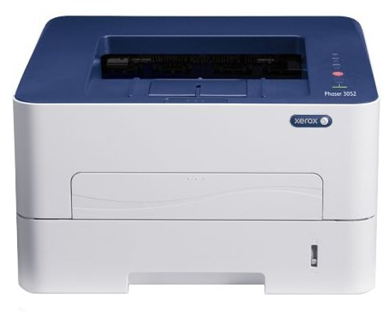 Принтер XEROX Phaser 3052NI (A4, Laser, 26ppm, max 30K pages per month, 256 Mb, PCL 5e/ 6, PS3, USB, Eth, 250 sheets main tray, bypass 1 sheet)