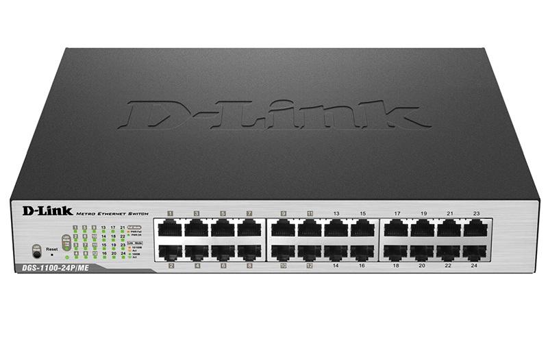 D-Link DGS-1100-24P/ ME/ B2A, L2 Smart Switch with 24 10/ 100/ 1000Base-T ports (12 PoE ports 802.3af/ 802.3at (30 W), PoE Budget 100 W).8K Mac address, 802.3x Flow Control, 802.3ad Link Aggregation, Port