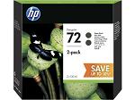 Cartridge HP 72, упаковка 2 шт., струйные картриджи DesignJet, 2*130 мл для DJ T610/ T770/ T1100/ T1120/ T1200 (2 шт. C9403A), черные