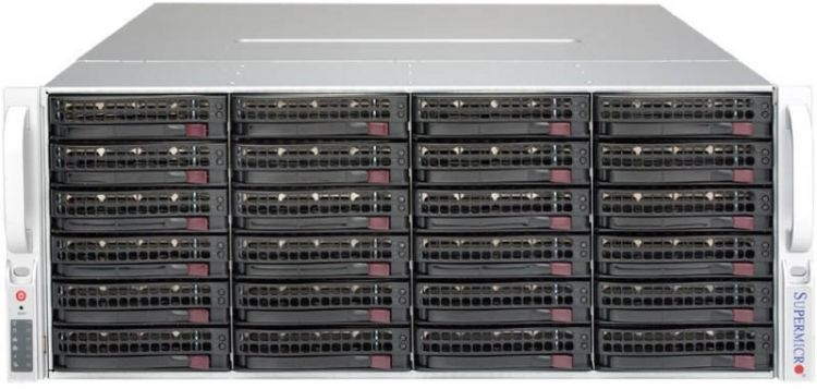 Supermicro SuperStorage 4U Server 6049P-E1CR36H noCPU(2)Scalable/ TDP 70-205W/ no DIMM(16)/ 3108RAID HDD(36)LFF/ 2x10Gbe/ 5xFH/ 2x1200W