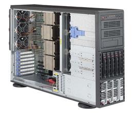 Supermicro SuperServer 4U 8048B-TR4F no CPU(4) E7-8800v3/ v4, E7-4800v3/ v4 no memory(32)/ on board RAID 0/ 1/ 5/ 10/ HDD(5)LFF/ 2xGE/ 4x PCI-E/ 2x1400W/ Backplane 5xSATA/ SAS